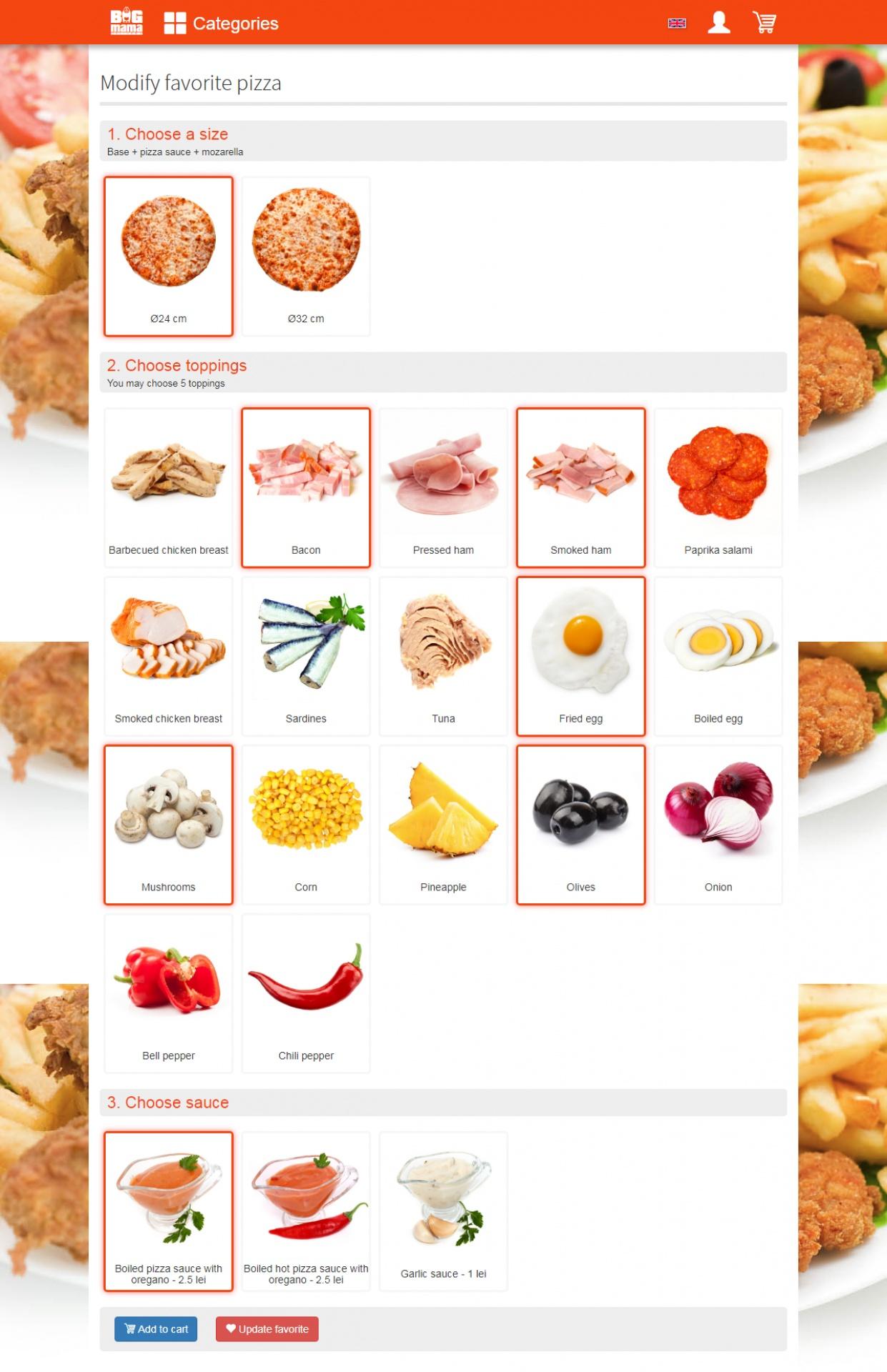 Editare pizza personalizat
